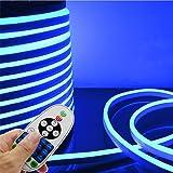 LED NEON Light, IEKOVTM AC 110-120V Flexible LED Neon Strip Lights, 120 LEDs/M, Dimmable, Waterproof 2835 SMD LED Rope Light + Remote Controller for Party Decoration (32.8ft/10m, Blue) (Color: Blue, Tamaño: 10m/32.8ft)