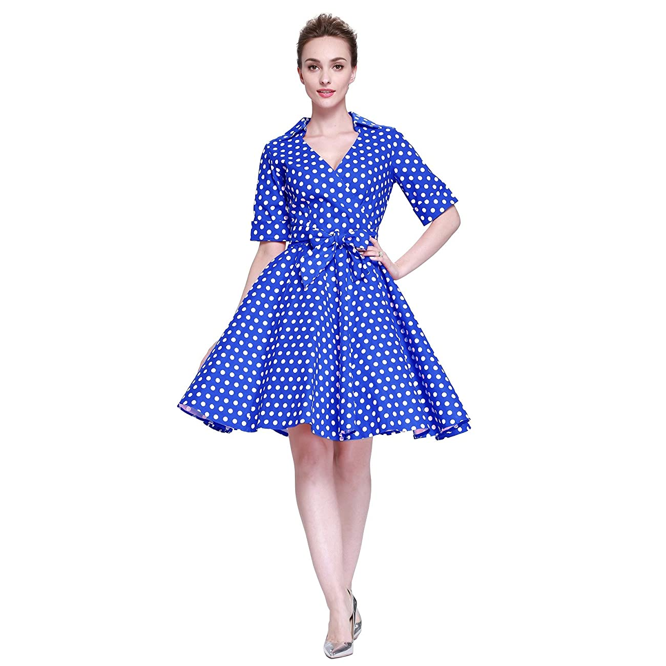 Heroecol Womens Vintage 1950s Dresses Cross V Neck Short Sleeve 50s 60s Style Retro Swing Cotton Dress 0