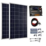 ECO-WORTHY 200 Watt (2pcs 100 Watt) 12V Solar Panel Kit + 20A Battery Charge Controller for 12 Volt Off Grid Battery System (Color: w/o Inverter, Tamaño: 200W)