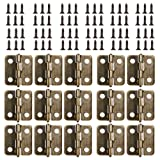 Small Mini Hinges, 50 Packs Cabinet Drawer Door Chest Butt Hinges Connectors with 200 Pieces 8 Mm Mini Brass Hinge Replacement Screws, Metal Hinge for Wooden Jewelry Box (Bronze) (Color: Bronze)