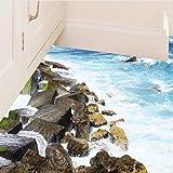 BIBITIME The Sea Washed the Seashore Reef Wall Decal Ocean Wave Vinyl Sticker for Bathroom Floor Vivid 3D Art Mural Nursery Kids Room Decor 19.6