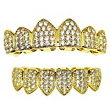 18K Gold Plated Grillz - CZ Iced Out Teeth Top & Bottom Set 2.7ct Micropave Lab Simulated Diamonds - BEST Gold Teeth Grills