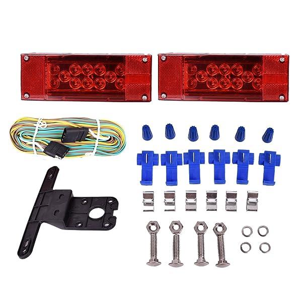 12V LED Submersible Rectangular Trailer Light Low Profile Kit Tail Stop Turn Running Lights for Boat Trailer Truck Marine