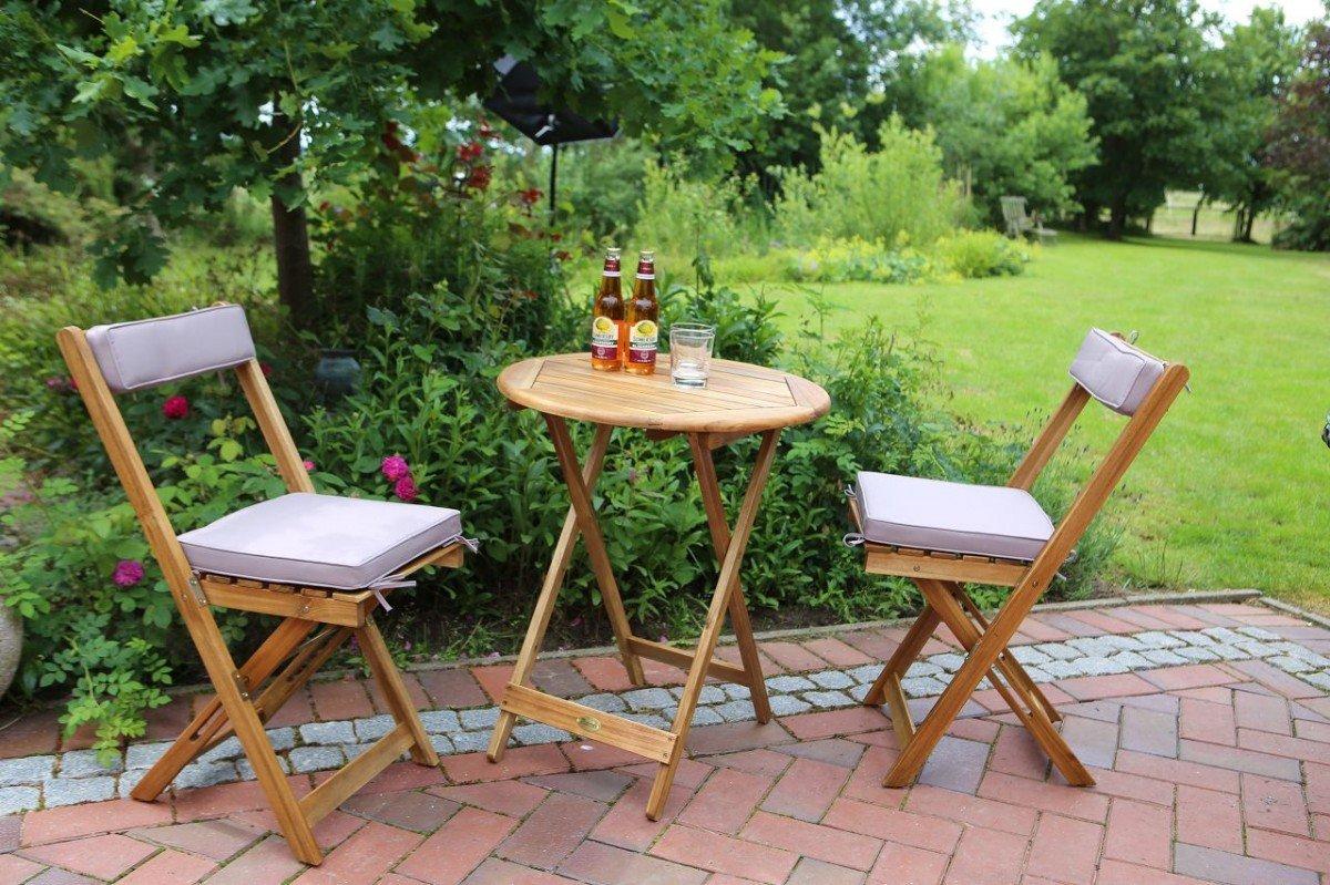 Dreams4Home Gartenmöbelset 'Salta II', Loungemöbel, Gartenmöbel, Stühle, Gartensessel, Relaxsessel, Gartenbank, Gartenstühle, Holz, 2 Stühle, 1 Beistelltisch, Garten, in Akazie jetzt kaufen