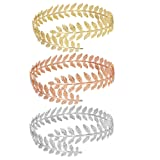 MANZHEN Fashion Gold Tone Swire Leaf Upper Arm Bracelet Armlet Cuff Bangle Armband Adjustable (3Colors) (Color: 3Colors)
