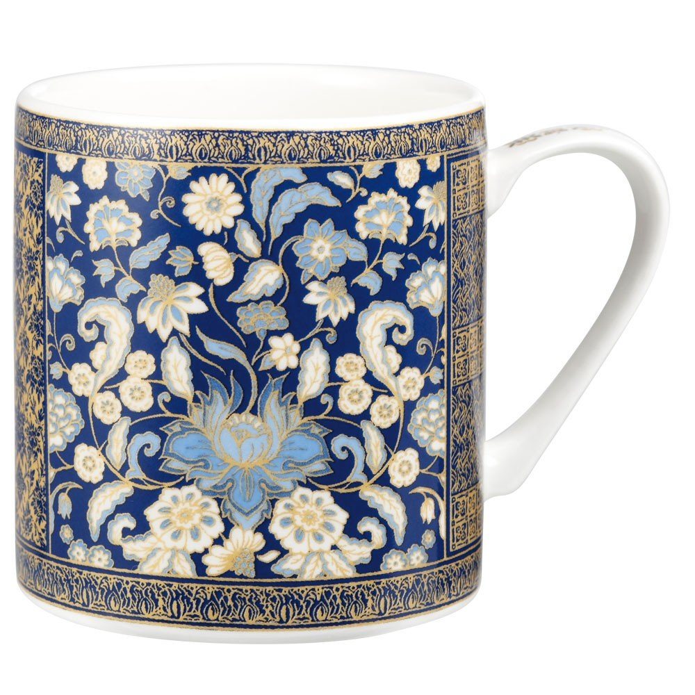 Queens Tropical Villa - Taza de desayuno de porcelana fina, diseño de flores, color azul   Comentarios de clientes y más Descripción