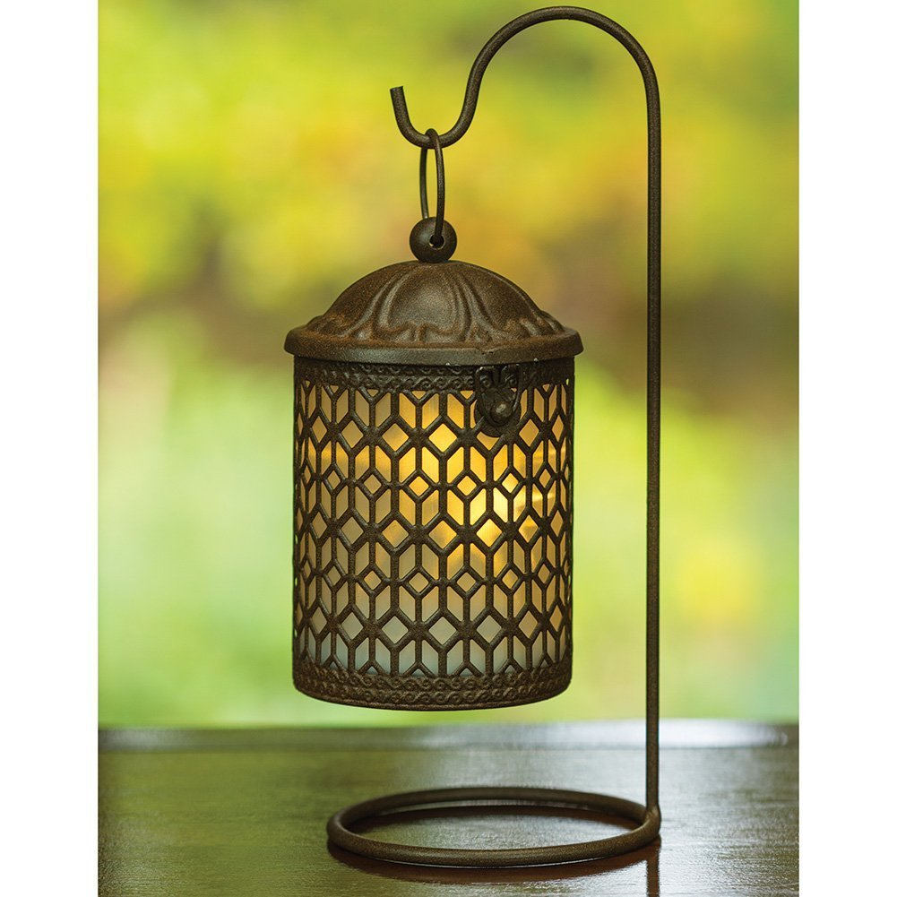 Decorative Hanging Metal Lantern with LED Light and Stand
