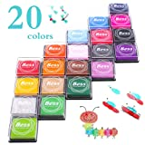 Craft Ink Pad Stamps Partner DIY Color,20 Color Ink Pad for Stamps, Paper, Wood Fabric, Kid's Rubber Stamp Scrapbooking Card Making Beautiful Water-Soluble Colors (Pack of 20) (Color: 20 pack-20 color)