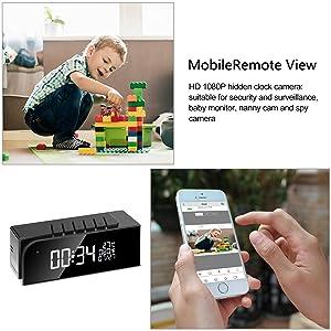 Hidden Camera Alarm Clock Spy Camera WiFi Cameras Wireless Mini Nanny Cam Motion Detection Home Surveillance Security Super Night Vision Temperature Display (B) (Color: Black)