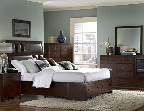 Queen Platform Bed with Footboard Storages of Vernnada Collection by Homelegance