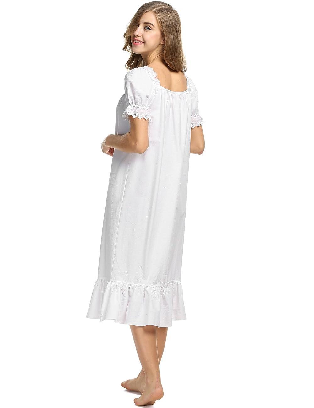 Avidlove Womens Cotton Victorian Vintage Short Sleeve Nightgown Sleepwear 4