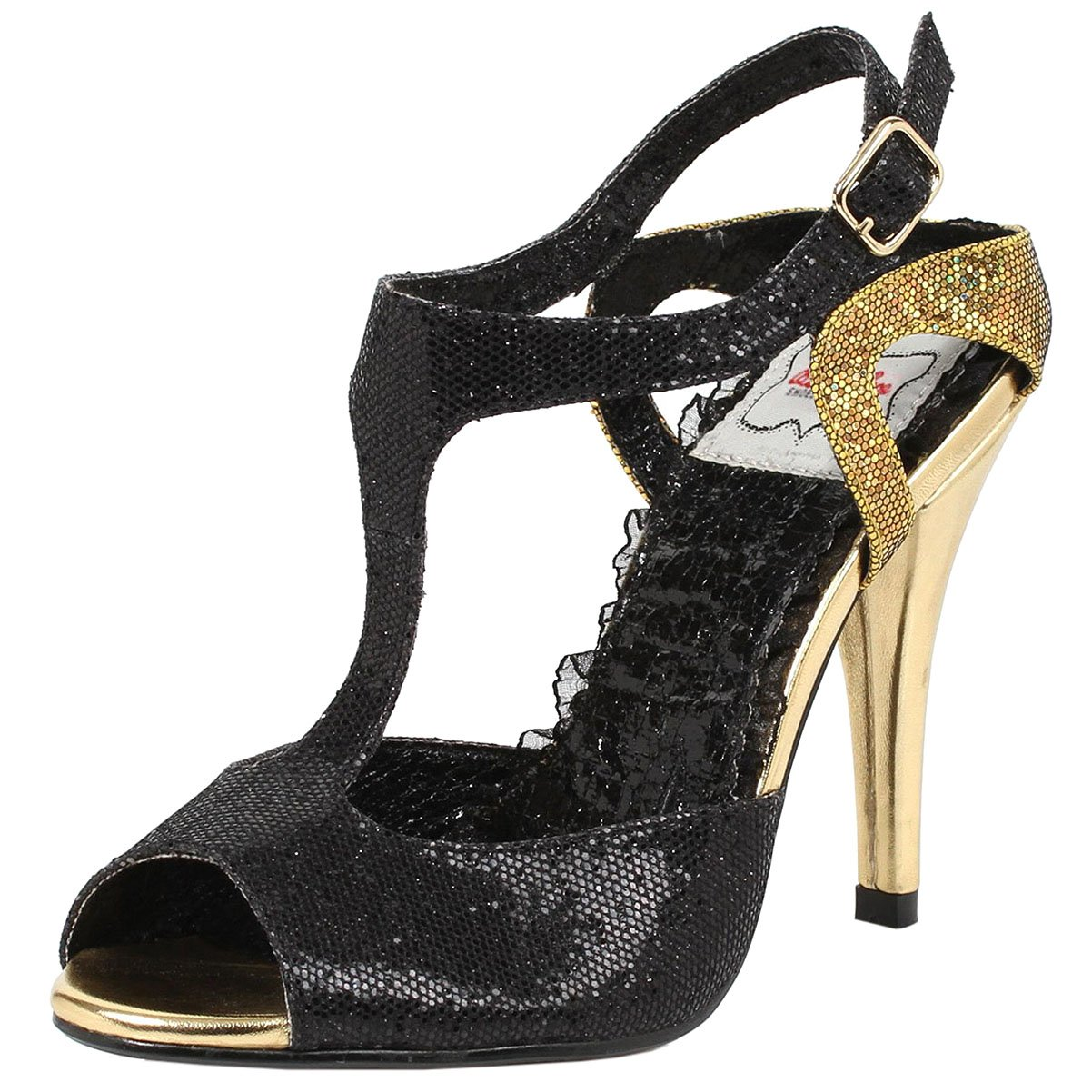 Unqiue and Fashionable Black and Gold Sequin T-Strap Sandals with 4 Inch Heels 0