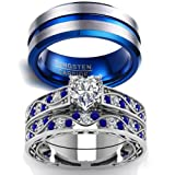 LOVERSRING Couple Ring Bridal Sets His Hers Women 10k White Gold Filled Men Tungsten Carbide Wedding Engagement Ring Band (Color: White)