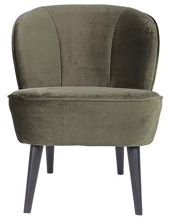 Fauteuil en polyester velours vert chaud - Dim : H 71 x L 59 x P 70 cm -PEGANE-