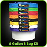 BUBBLEBAGDUDE 5 Gallon 8 Bag Set - Herbal Ice Essence Extractor Bag Kit - Comes with Pressing Screen and Storage Bag