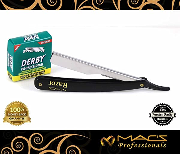 Macs Professional Black Plastic Handle Barber Double Edge Half Blade Barber Safety Razor with Hi-Chromium Derby 100 Count Double Edge Half Blades Made