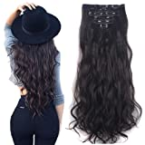 3-5 Days Delivery 7Pcs 16 Clips 24 inch Wavy Curly Full Head Clip in on Double Weft Hair Extensions (Color: Dark Brown, Tamaño: synthetic hair-24 Inch-160g)