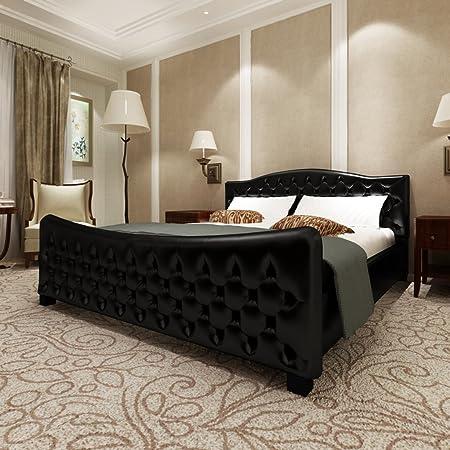 Lit Plaisance 180 x 200 cm en simili cuir noir style luxueux + matelas inclus - CASASMART