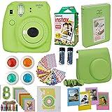 Fujifilm Instax Mini 9 Instant Camera Lime Green + Fuji Instax Film Twin Pack (20PK) + Camera Case + Frames + Photo Album + 4 Color Filters and More Top Accessories Bundle (Color: Green)