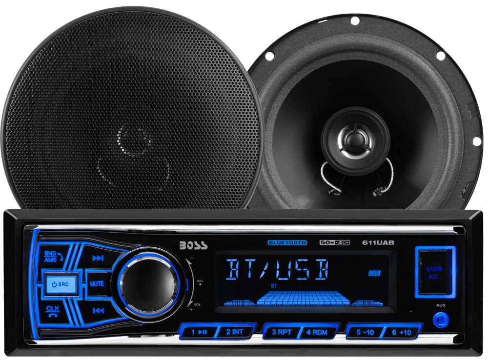 BOSS AUDIO 638BCK Package Includes 611UAB Single-DIN AM/FM Mechless Bluetooth Enabled/Audio Streaming Digital Media Receiver Plus One Pair of 6.5 Inch 2-Way Speakers