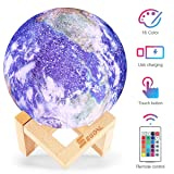 Moon Lamp Moon Light Night Light for Kids 16 Colors LED 5.9 Inch 3D Printing Earth Lamp with Stand, Touch & Remote Control & USB Rechargeable Baby Light Birthday Holiday Gift for Lover Friends (Color: Earth Lamp)