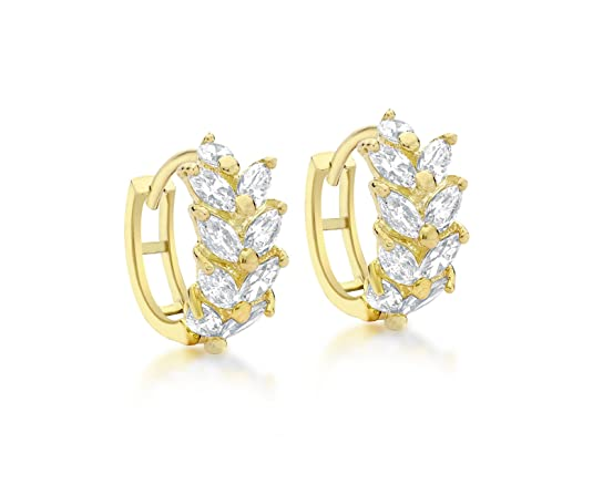 Carissima Gold 9ct Yellow Gold Cubic Zirconia Leaf Cluster Huggy Earrings