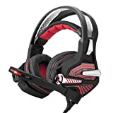 Beexcellent USB Gaming Headset GM-9 7.1 Surround Bass Sound Over-ear Headset with Microphone, LED Lights and Volume Control (Red) (Color: red)