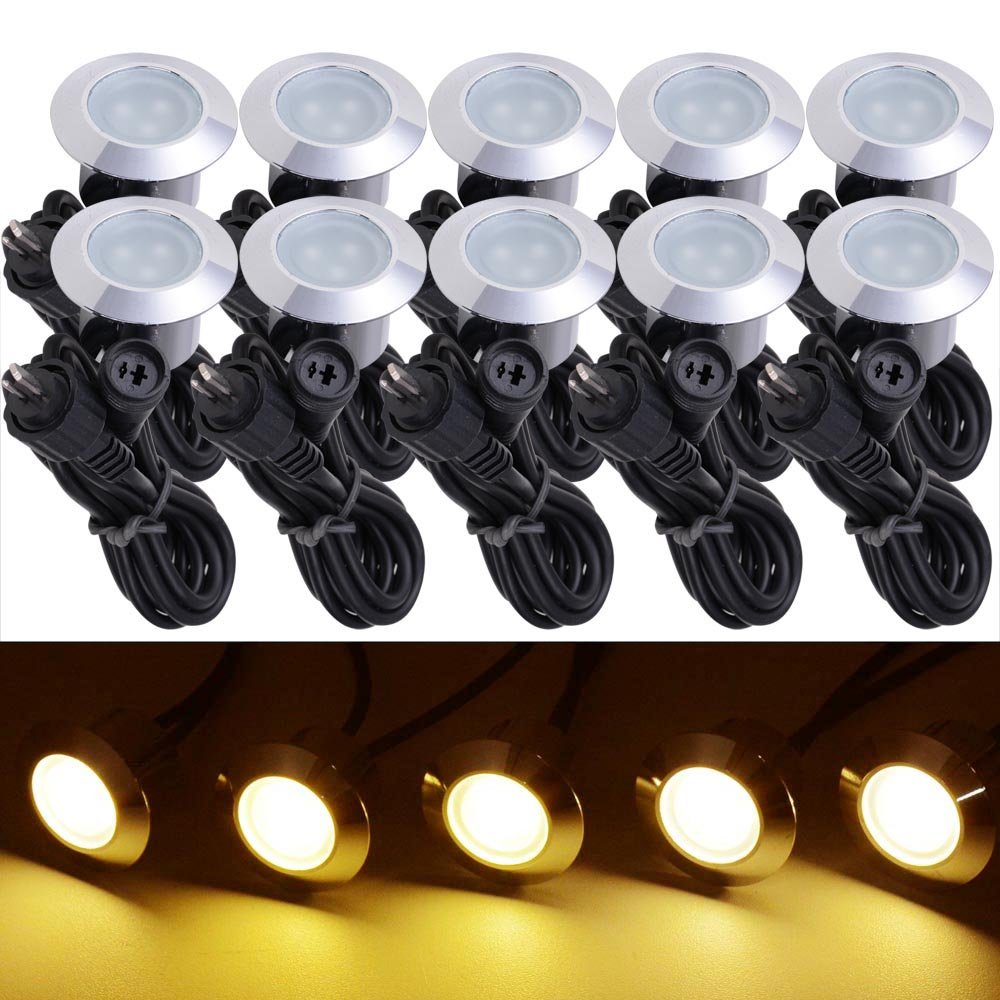 Yescom 10pc Deck Garden Mall Step Stair Landscape LED Lights Low Voltage IP65 Lamp w/ Transformer