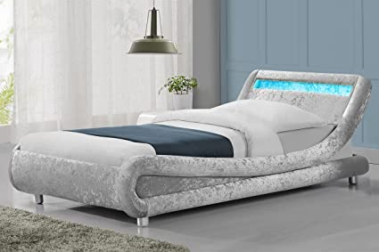 Madrid LED-Lichter Moderner Designer Bett POW XQ5320 Single, Double, King Size, Textil, Silver Crushed Velvet, 0,9 m