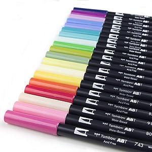 Tombow 56192 Dual Brush Pen Set, Floral Palette, 20-Pack. Blendable, Brush and Fine Tip Markers (Color: Floral Palette)