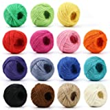 HULISEN Jute Twine - 15 Roll Natural Jute String, 1230 Feet (410 Yards) 2mm 3 ply Twine String for Artworks, DIY Crafts, Gift Wrapping Twine, Picture Display and Embellishments (Color: 15 Colors Jute Twine)