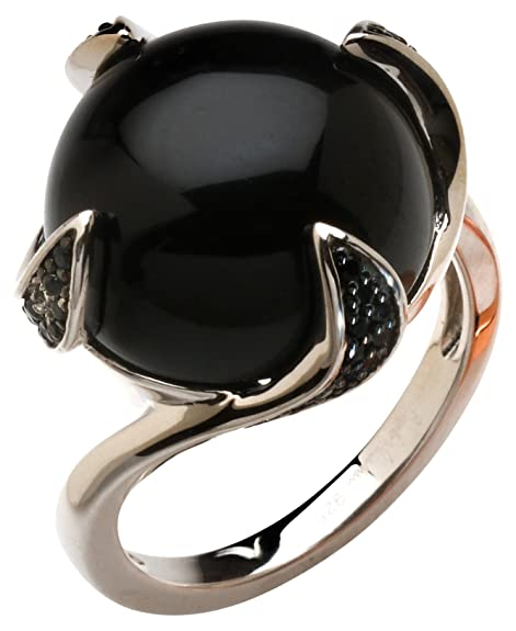 Babette Wasserman Women's Sterling Silver Round Black Onyx Thorn Ring - of Size N
