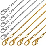 Forise 20Pcs 20 Inch Silver and Gold Plated 1.2mm DIY Snake Chain Necklace with Lobster Clasps for Jewelry Making (Tamaño: 20inch)