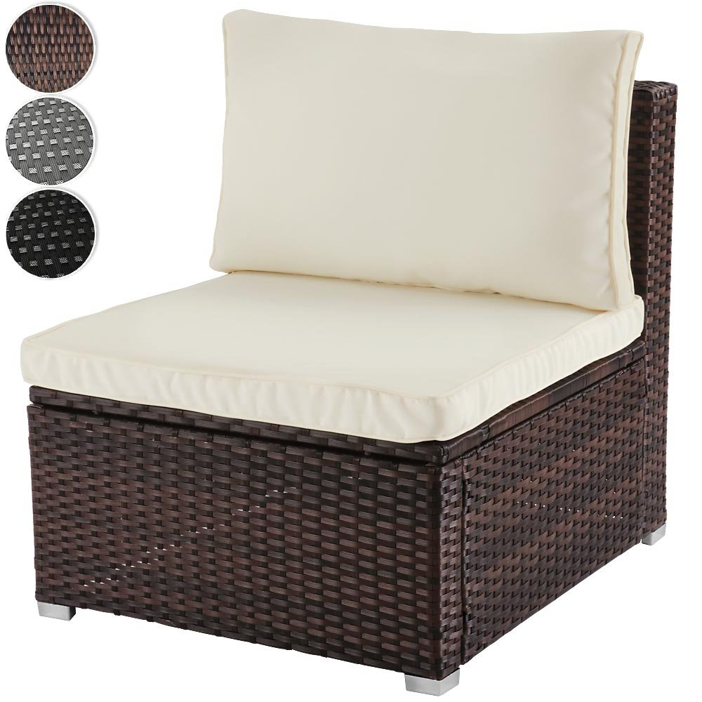 Bequemes Loungesofa aus Polyrattan für 1 Person Einsitzer Gartenmöbel inkl. Sitzkissen -Farbwahl- schwarz, grau oder braun