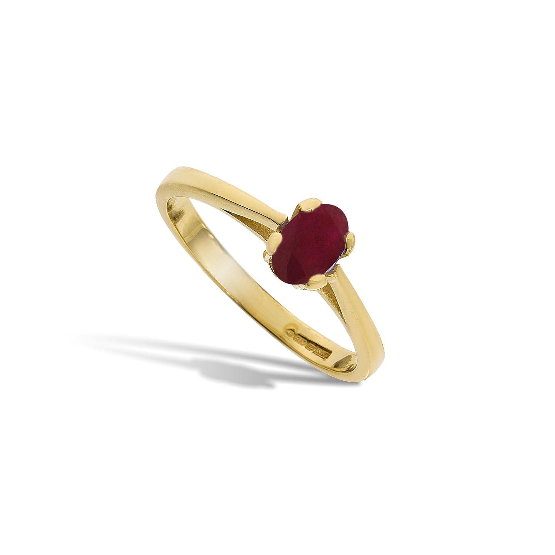 Edler 9 Karat (375) Gold Solitär Verlobung Damen – Ring mit Rubin 0.60 Karat schenken