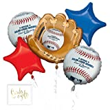 Andaz Press Balloon Bouquet Party Kit with Gold Cards & Gifts Sign, Major League Baseball Foil Mylar Balloon MLB World Series Decorations, 1-Set (Color: Sports Mlb Baseball)