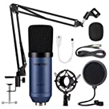 Condenser Microphone ZINGYOU Computer Mic ZY-007 Recording Bundle for Gaming Streaming YouTube Videos Professional Cardioid Microphone include Adjustable Arm Stand, Shock Mount and Pop Filter(Blue) (Color: Blue)