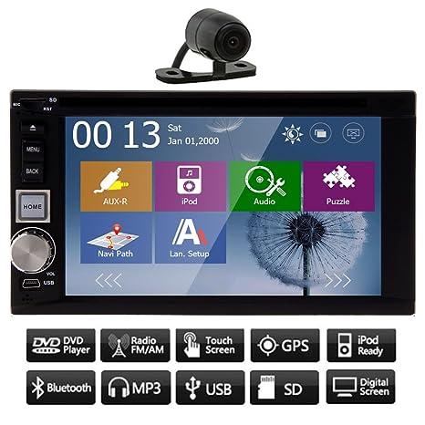"Double din 6.2 ""Touchscreen GPS Navigation Lecteur DVD de voiture Bluetooth stšŠršŠo FM / AM RDS Radio Audio Video iPod Headunit + CamšŠra libre"
