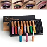 Coosa Glitter Liquid Eyeliner 10PCS 10 Colors Long Lasting Waterproof Sparkling Eyeliner Eye Shadow – 10PCS (Color: 10PC)