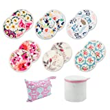 Babygoal Breastfeeding Pads(12 Pack), Reusable Washable Bamboo Nursing Pads with Mini Wet Bag and Laundry Bag 12NP02 (Color: 12 Pack Plain Shape(Flowers), Tamaño: Large(12cm/4.7