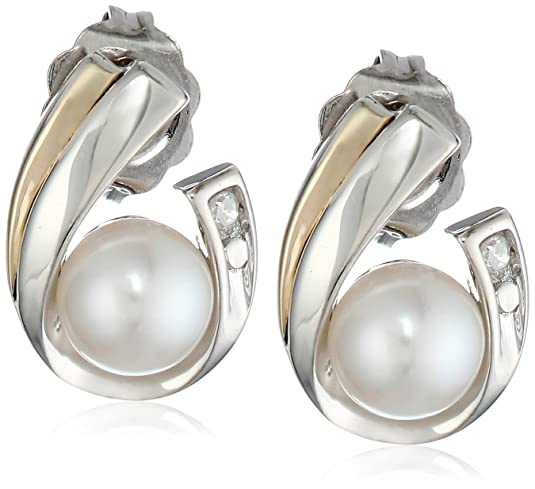 S-G-Sterling-Silver-14k-Yellow-Gold-and-Freshwater-Cultured-Pearl-5-0-5-5-mm-and-Diamond-Earrings
