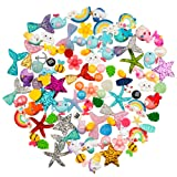 Petift 100pcs Slime Charms Cute Set Mixed Mermaid Tails,Unicorns,Ducks,Animals,Resin Flatback Slime Cabochons Beads for Kids and Adults Craft Making,Ornament Scrapbook DIY Crafts (Color: Red)