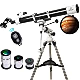 Telescope, Gskyer 90mm Astronomy Refractor Telescopes with Smartphone Adapter & Wireless Camera Remote - Perfect for Children Educational and Gift (Tamaño: gs-901000)