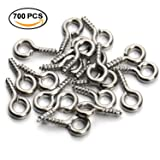700pcs Eye Screws - 10mm Eye Pin Hooks by Kurtzy - Silver Hoop Screws for DIY Crafts, Pendant & more - Eye Pin Screws - Eyelet Hooks - Eye Screw Hooks for Jewellery Making - Small Screw Hooks