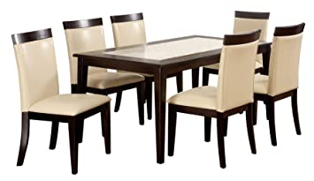 Furniture of America Vinia 7-Piece Dining Table Set with Faux Marble Top, Espresso Finish