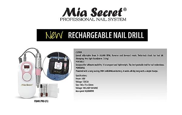Mia Secret - 272 - PROFESSIONAL Pro-Speed Portable Rechargable Nail Drill - White & Pink NEW ITEM !