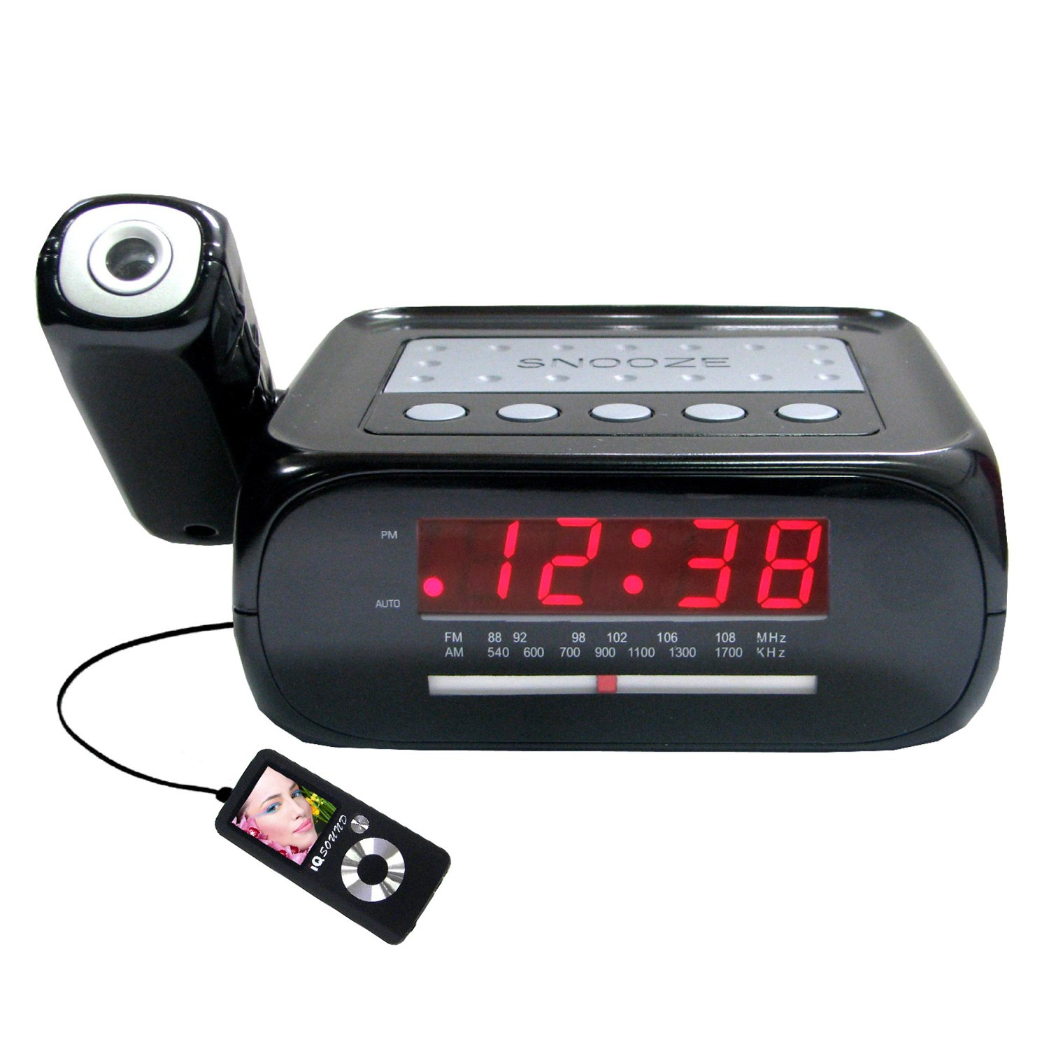 ceiling wall projection projector alarm clock radio ipod mp3 aux music jack new ebay. Black Bedroom Furniture Sets. Home Design Ideas