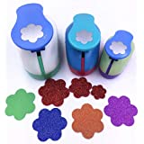 TECH-P Set of 3PCS (2 inch+1.5 inch+1inch) Craft Punch Set Paper Punch Paper Punch Tool Eva Punches for Making Arts Crafts Projects Cards Scrapbooking Garland Hanging Decorations (Flower) (Color: Flower)
