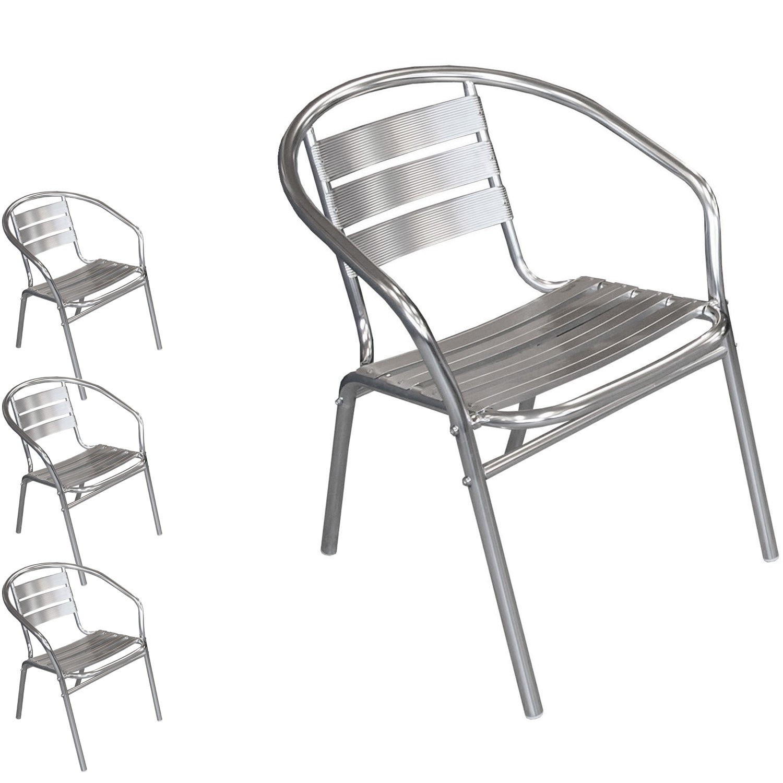 4 Stück Bistrostuhl stapelbar Aluminium Stapelstuhl Campingstuhl Gartenstuhl Küchenstuhl Balkonmöbel Gartenmöbel Silber günstig bestellen