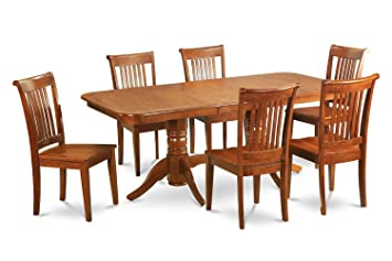 East West Furniture NAPO5-SBR-W 5-Piece Dining Table Set